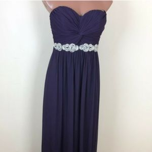 City Triangles Strapless Purple Dress